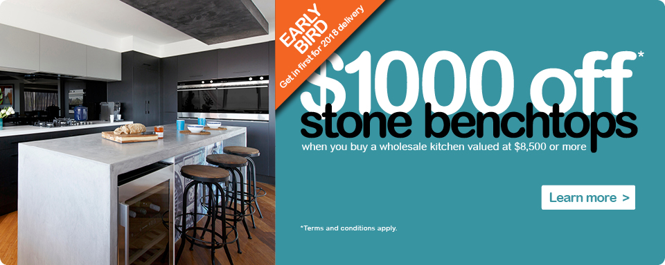 Wholesale Kitchens $1,000 off stone benchtops special offer. Terms and conditions apply.