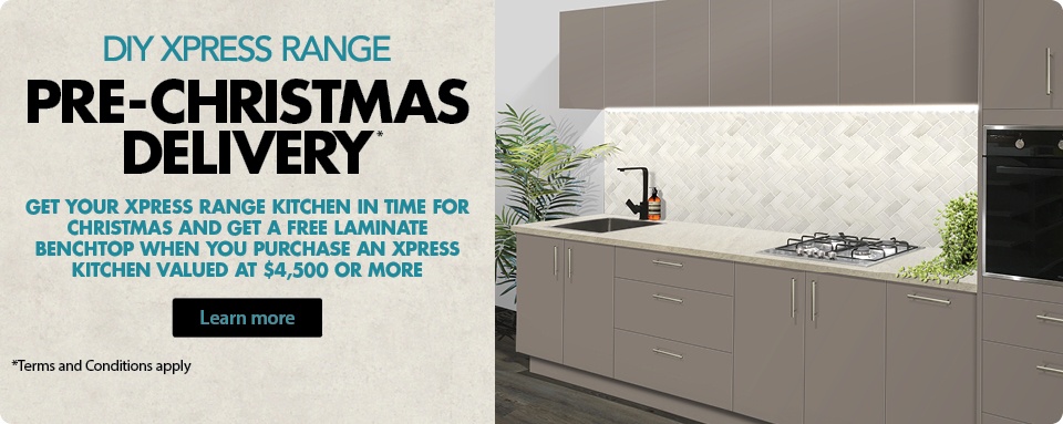 Wholesale Kitchens DIY Xpress Range Pre-Christmas Delivery special offer. Terms and conditions apply.